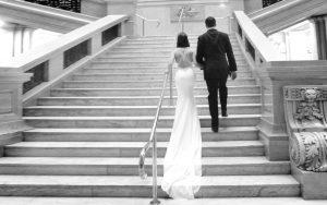 bride groom walk up steps