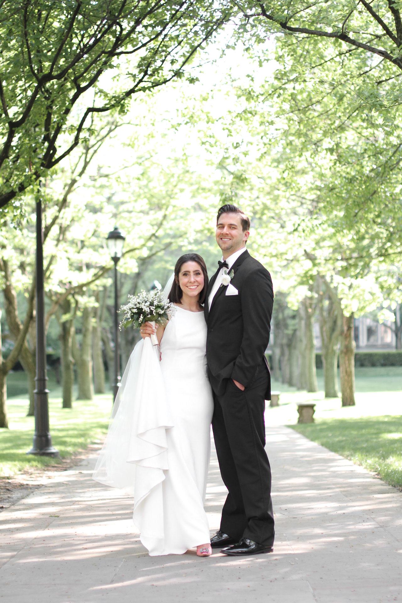 bride groom under trees