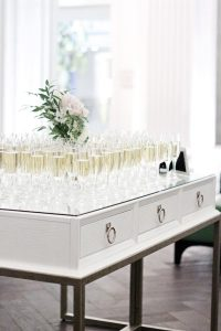glasses of champagne on table at hotel monaco in pittsburgh, pa