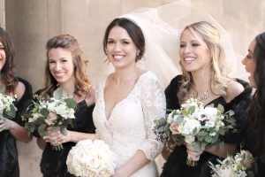bride and bridesmaids smiling in pittsburgh,pa wedding