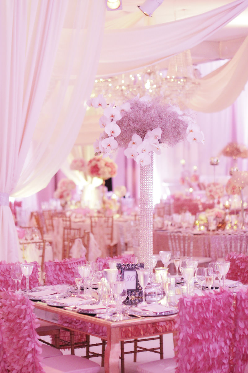 pink wedding reception at westin convention center in pittsburgh, pa