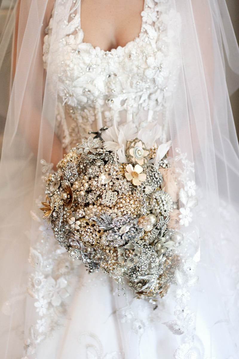 ornate bridal bouquet made of jewels