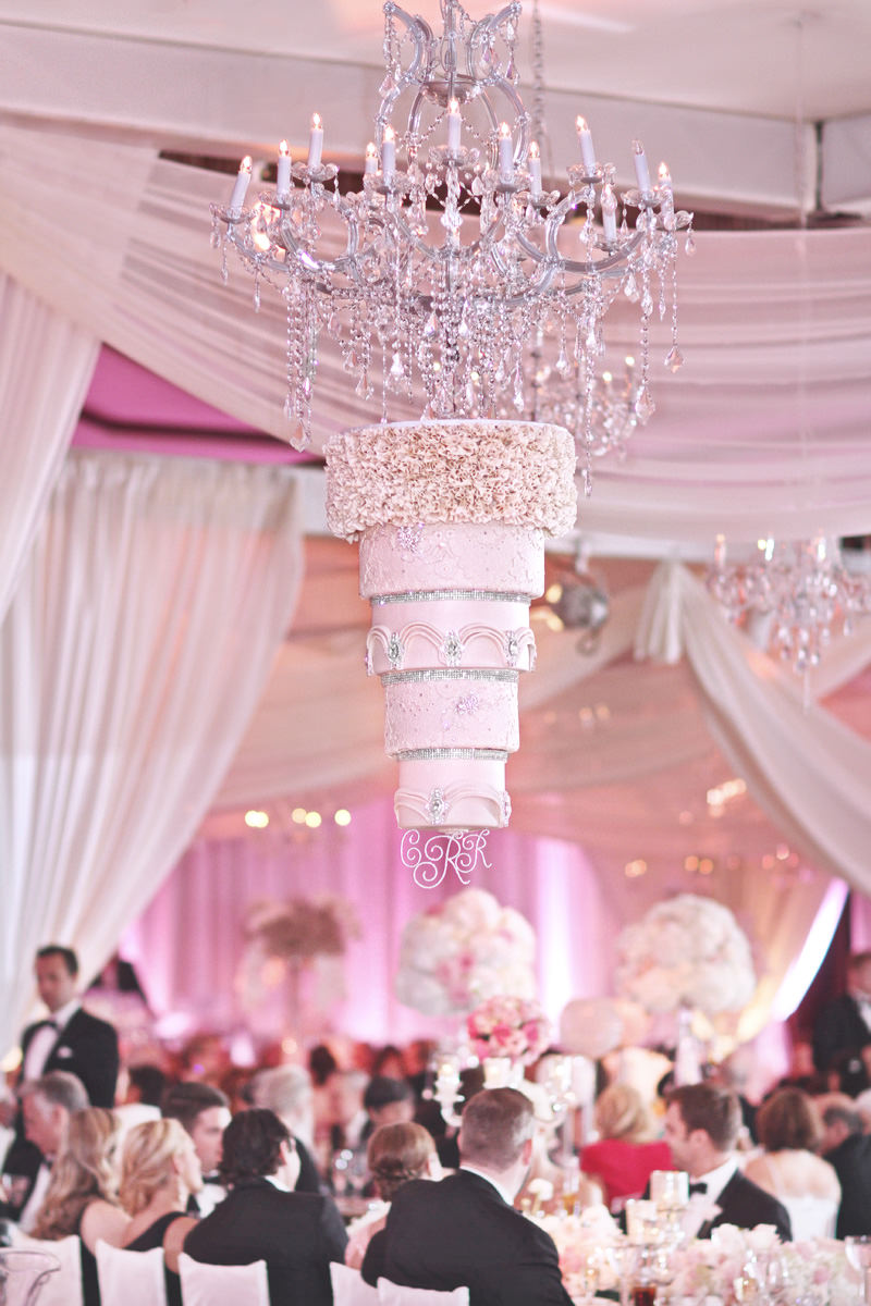 upside down chandelier wedding cake hanging from ceiling