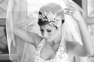 stunning bride lifts veil