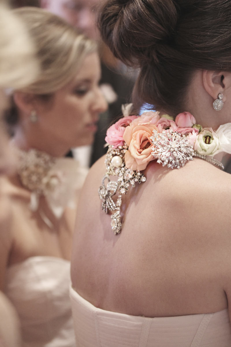 ornate bridesmaids chokers made of jewels and flowers
