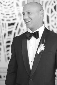 smiling groom before wedding ceremony
