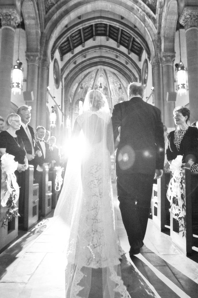 ethereal image of father walking bride down the aisle at st. bernard church in pittsburgh pa