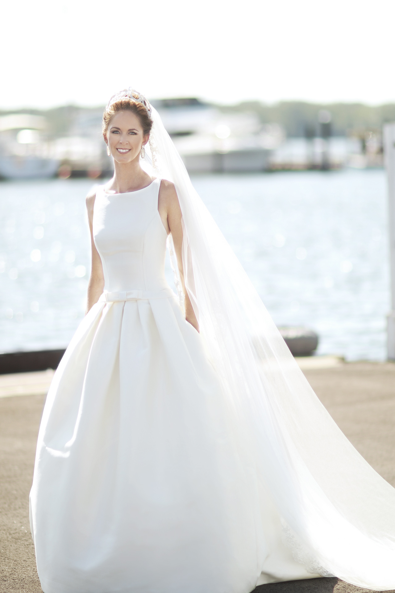 bride at the marina