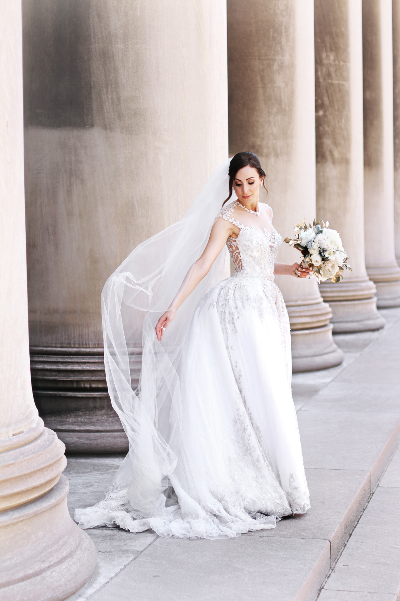gorgeous bride at carnegie pillars in Pittsburgh, PA
