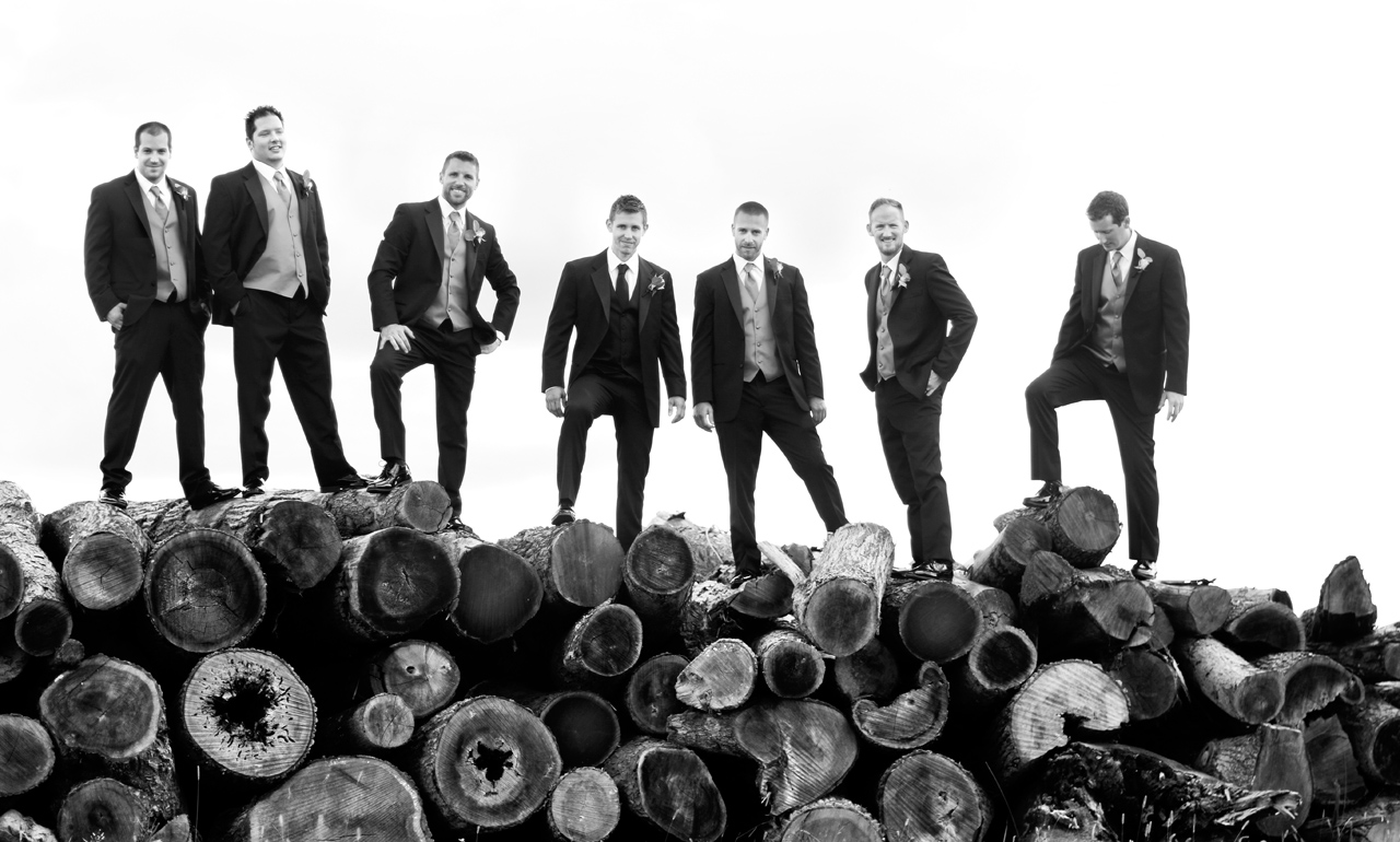 Groomsmen posing on logs