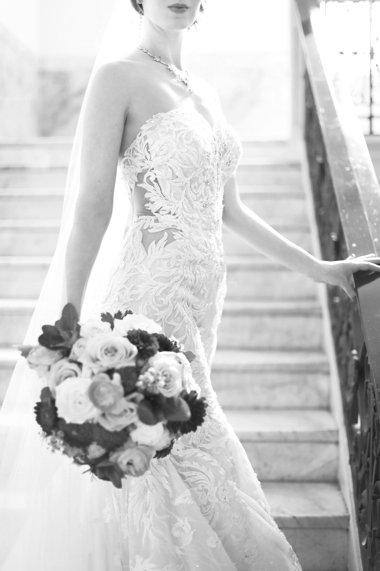 bride on stairway
