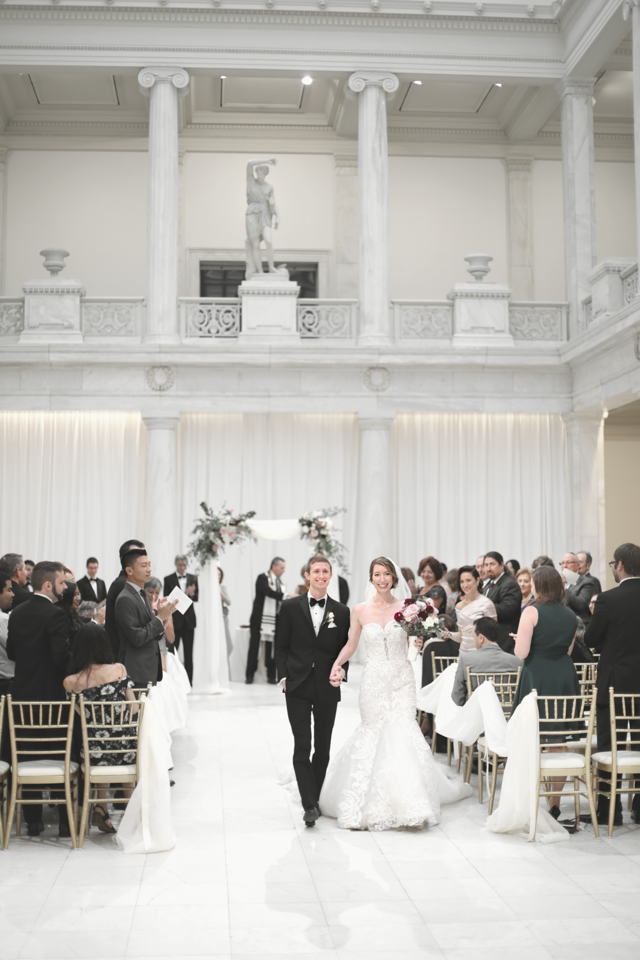 wedding in museum of sculpture at carnegie museum in pittsburgh, pa